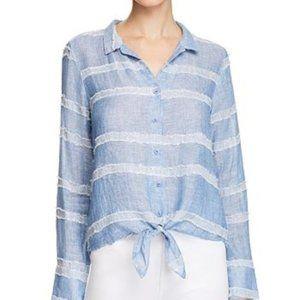 Bella Dahl Blue Tie Front Textured Striped Shirt